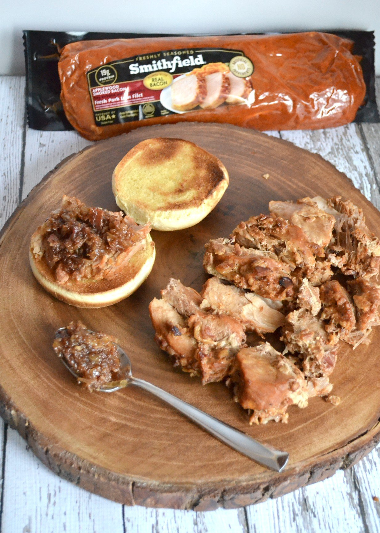 Open-Faced Pork Loin Sammies with Applewood Smoked Bacon Onion Jam
