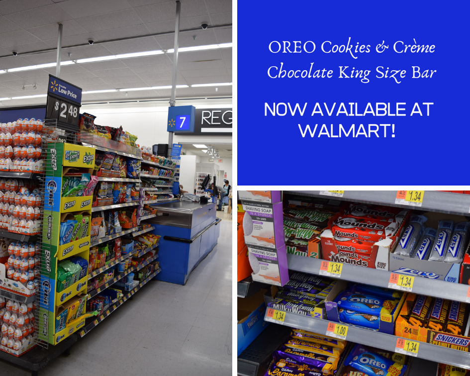 you can find the OREO Cookies & Crème Chocolate King Size Bar beckoning to you right at the end of the checkout lane at Walmart.