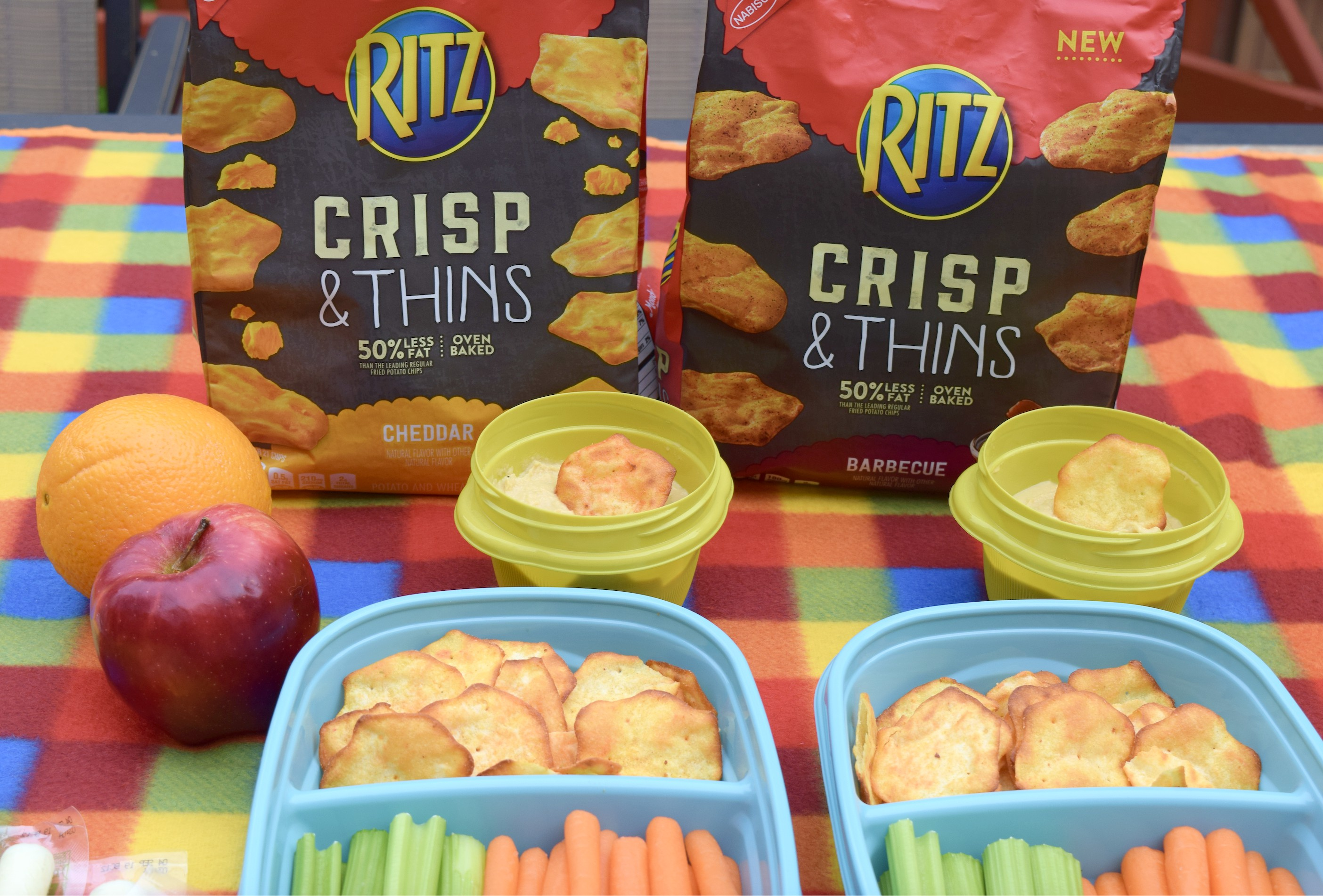 RITZ Crisp & Thins Cheddar and Barbecue cracker chips are a great, convenient snacks for family road trips, picnics or to serve at any gatherings!