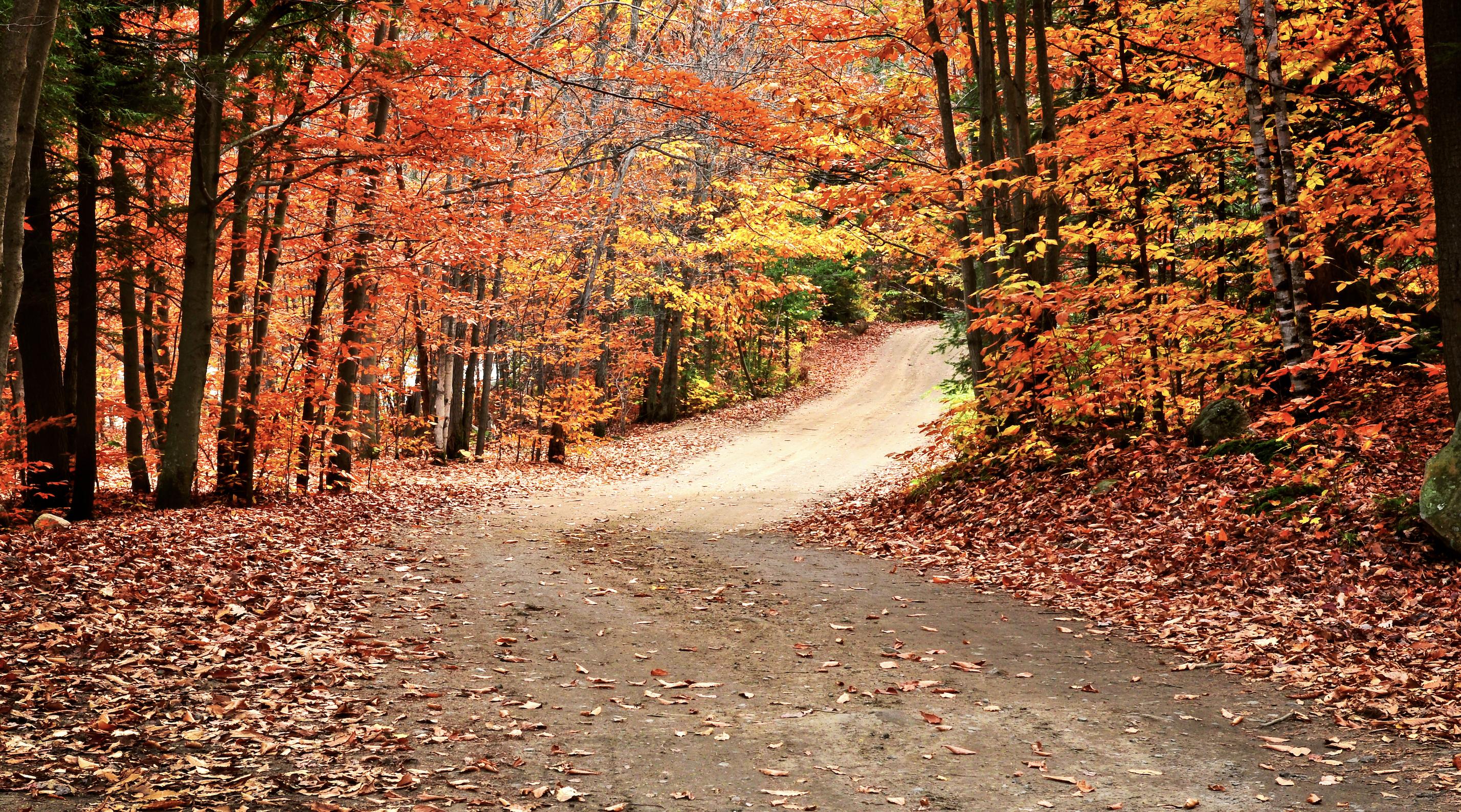 Fall dirt road and S'mores Caramel Popcorn recipe