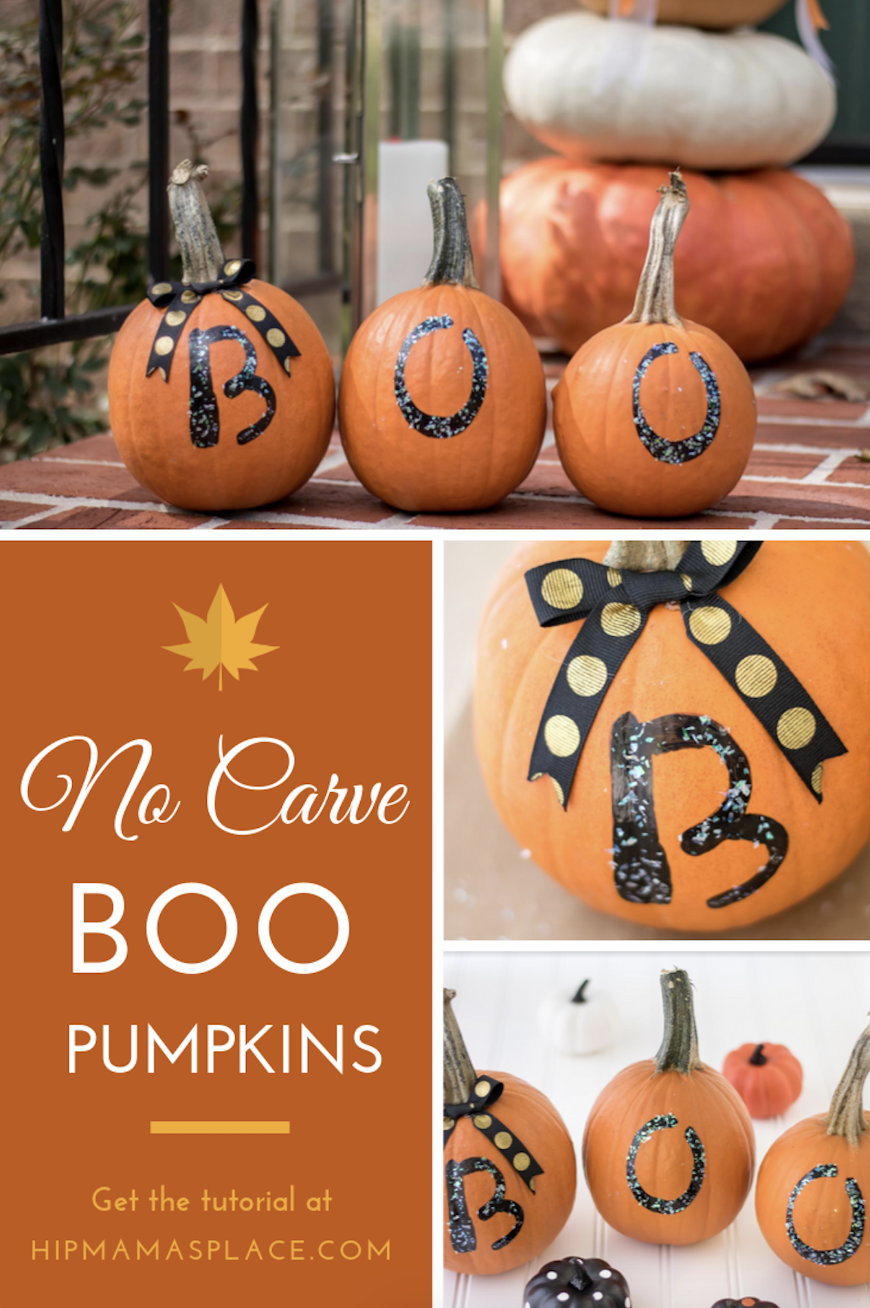 Here's a great idea for an easy, fun Fall craft to make with your family: No Carve Boo Pumpkins! Show the spirit of Halloween.. without as much mess! #fall #pumpkins #homedecor #falldecor #pumpkindecor #decorideas #Halloween #Halloweendecor