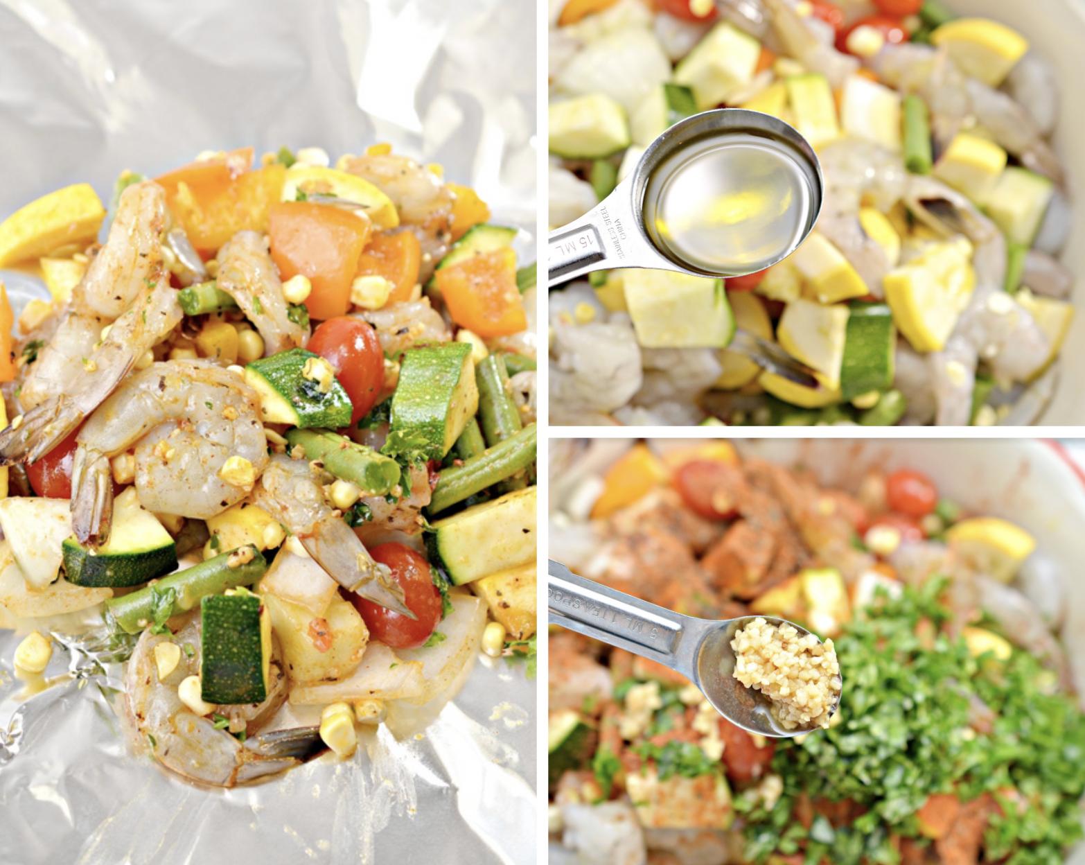 Summer shrimp and veggies foil packs recipe