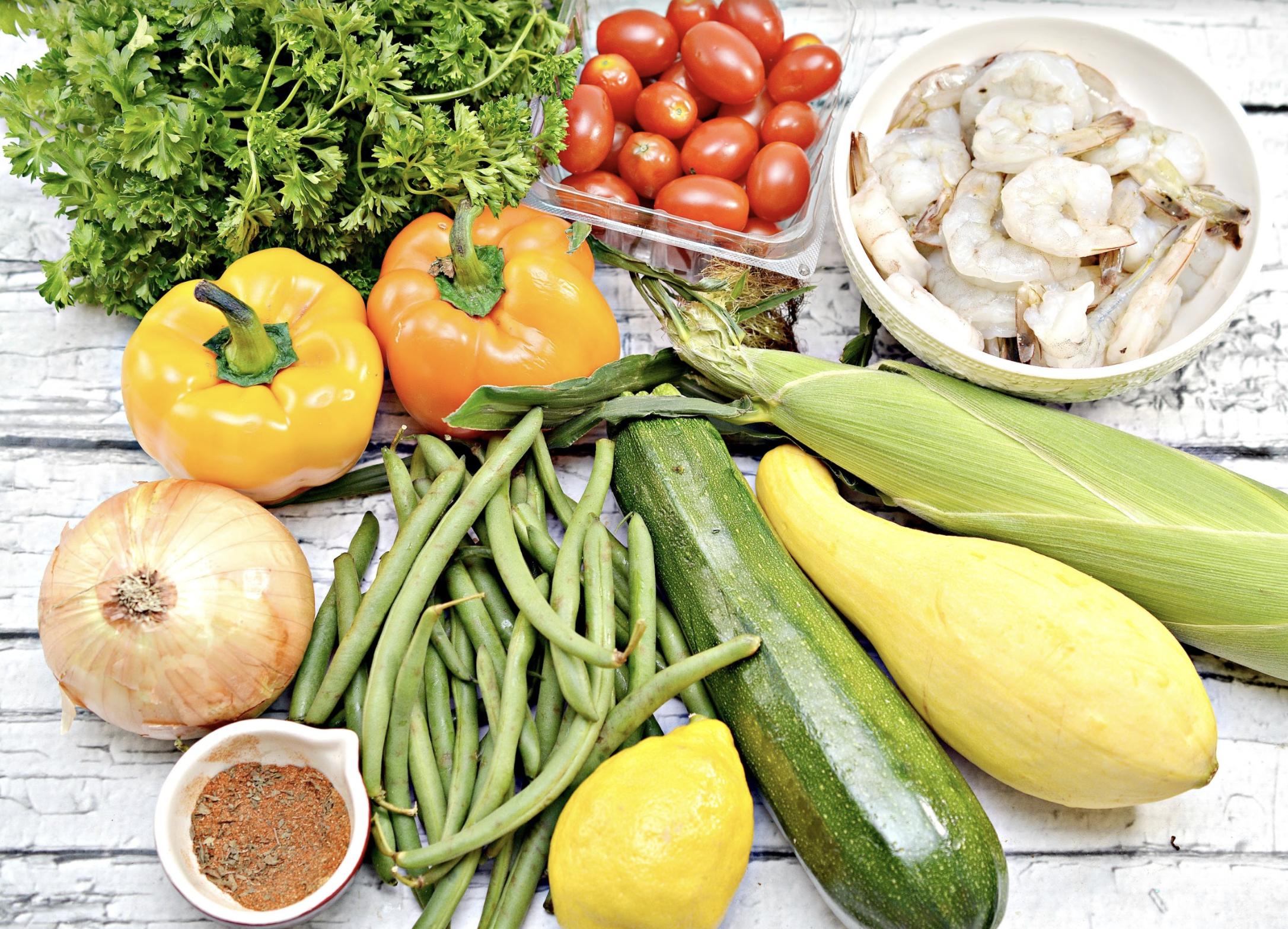 fresh veggies and shrimp for shrimp and veggies foil packs recipe