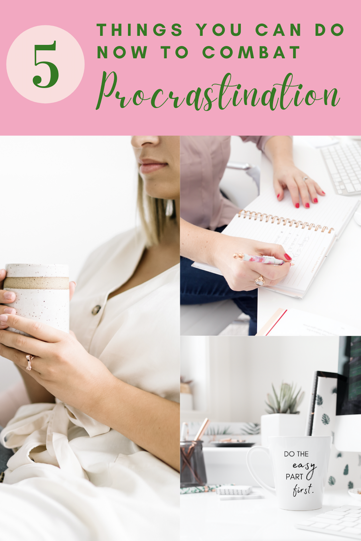Do you find yourself putting things off until the last minute a lot? Here are five things you can do right now to combat procrastination. #procrastination #productivity #timemanagement #lifestyleblog #wellness #healthtips #mentalhealth #hipmamasplace #lifestyle