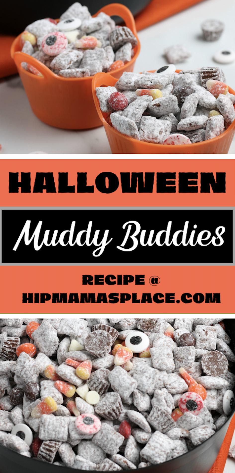 Halloween muddy buddies recipe