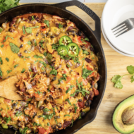 Easy One Skillet Cheesy Rice and Beans