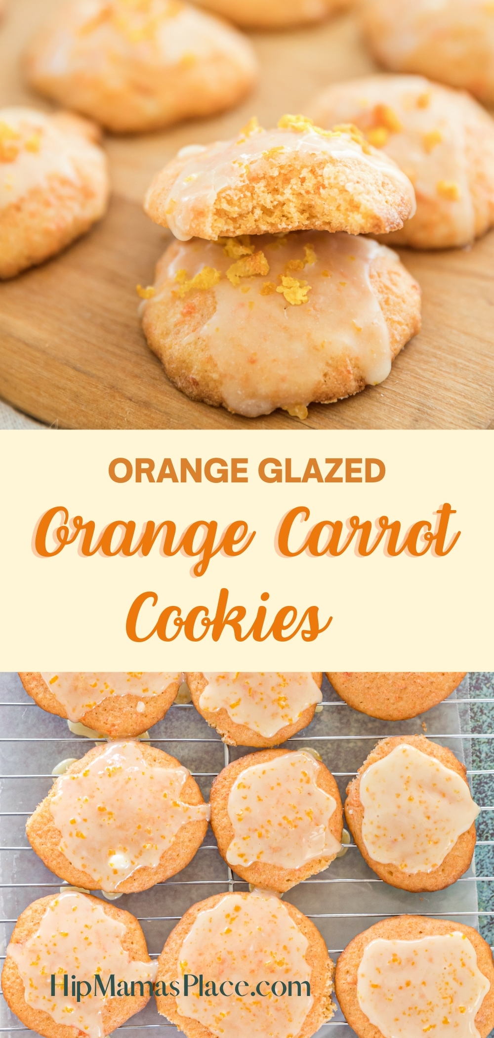 Easy and delicious orange carrot cookies are made with mashed carrots and then glazed with a delicious orange icing. Perfect as a springtime dessert or breakfast treat!