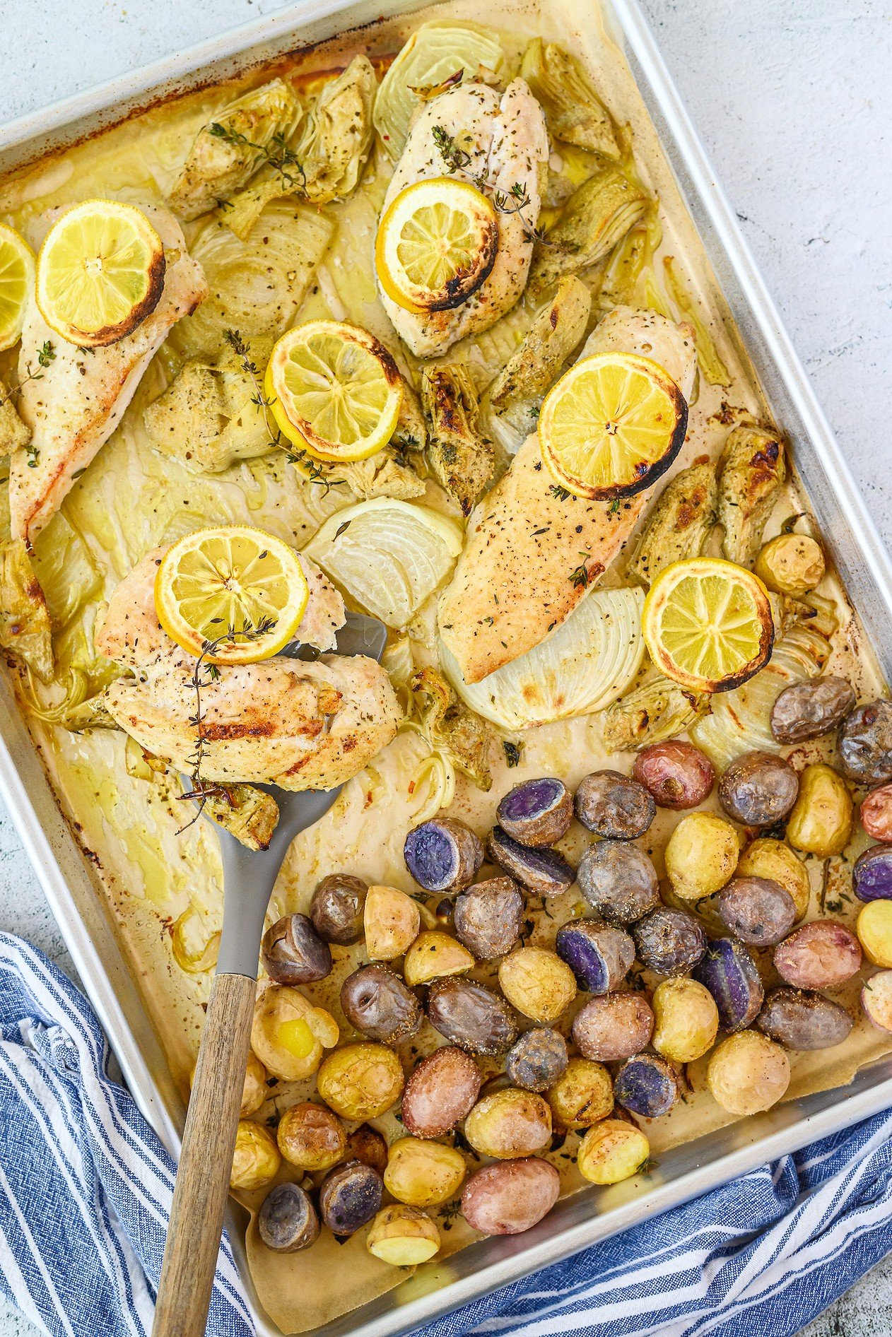 sheet pan chicken recipe with artichokes and potatoes