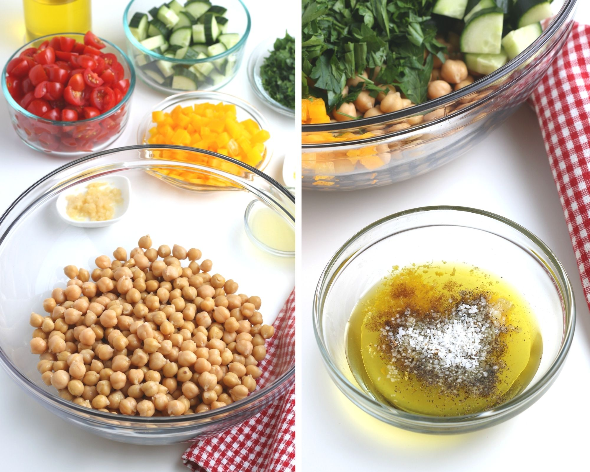 ingredients for easy chickpea salad recipe