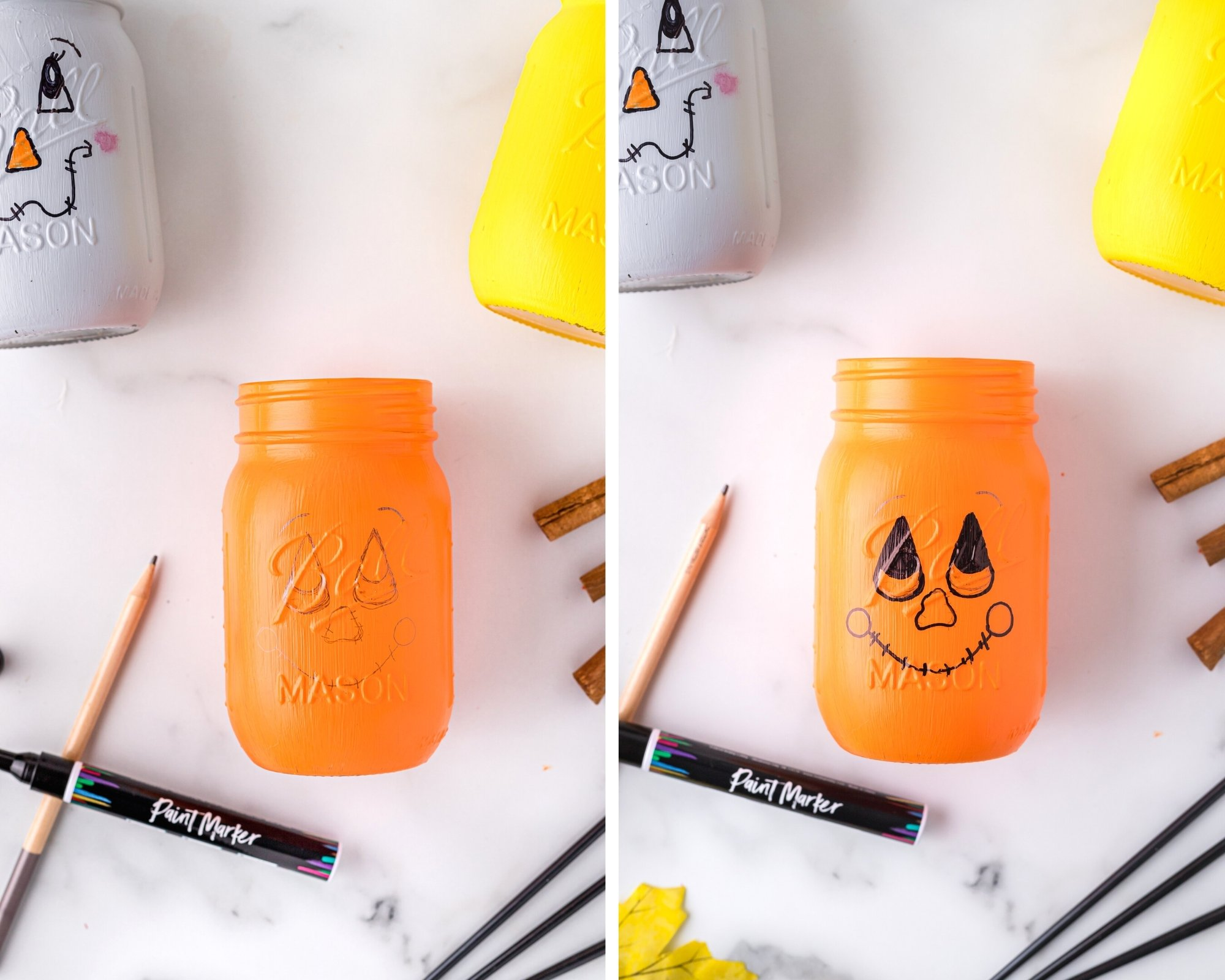 how to paint scarecrow faces on mason jars