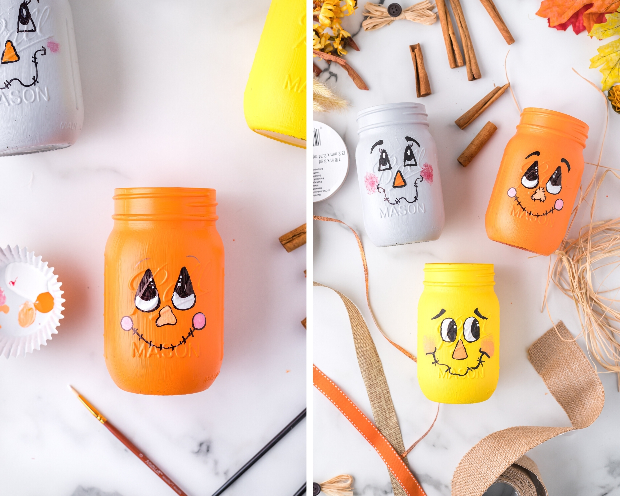 painting scarecrow faces on mason jars