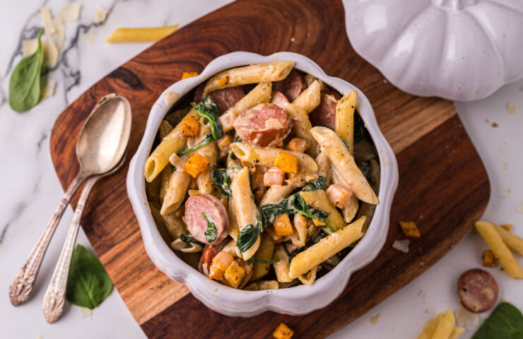 Creamy Butternut Squash Pasta with Spinach and Sausage